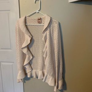 Faded Glory Ruffle Beige Cardigan